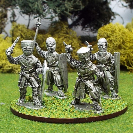 28mm medieval crusader knights with hand weapons.