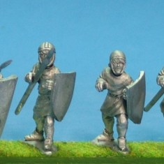 Unarmoured medieval spearmen in hoods and caps.