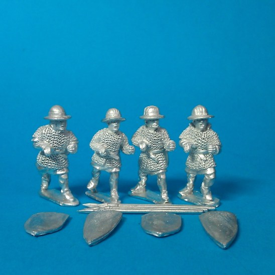 28mm feudal Spearmen in mail 1