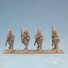 ME43a Spearmen in aketon-gambeson wearing nasal bar and skull cap helmets.