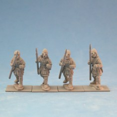 ME43a Spearmen in aketon-gambeson wearing nasal bar and skull cap helmets.