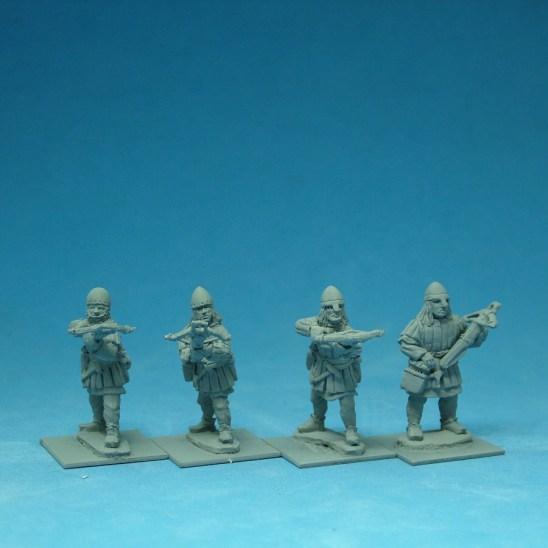 ME48a Crossbowmen in Aketon-Gambeson wearing nasal bar and skull cap helmets.
