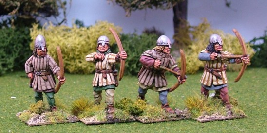 28mm Medieval Archers in Aketon-Gambeson II Nasal Bar and Skull Caps