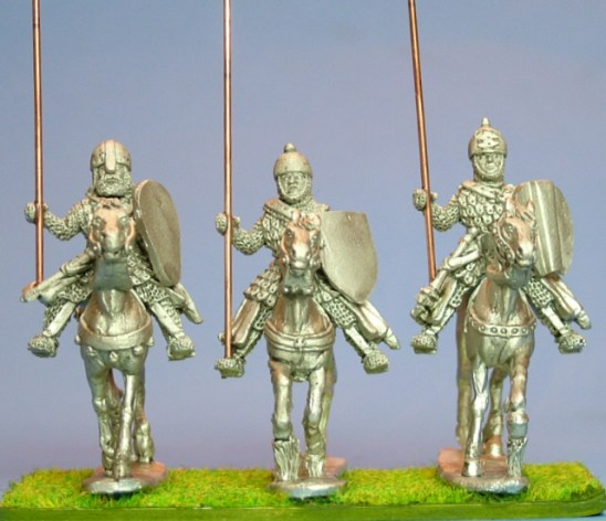 28mm Eastern Medieval Mounted Knights 1 scale-lamellar, lance upright, charging unbarded horses.