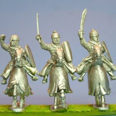 28mm Eastern Europe Mounted Knights 3, scale-lamellar, hand weapons, charging barded horses.