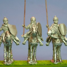 28mm Eastern Europe Mounted Knights 1, scale-lamellar, lance upright, standing unbarded horses.