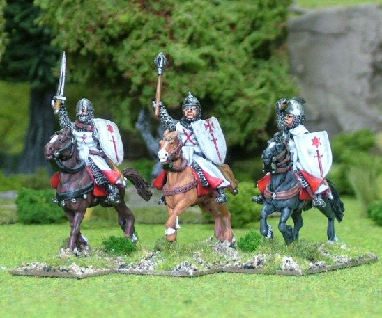 28mm Eastern Europe Eastern Mounted Knights 3 Mounted Knights 3, mail, hand weapons, charging unbarded horses. Livonian Brothers of the Sword Shields, banners and heraldic transfers by Battle Flag