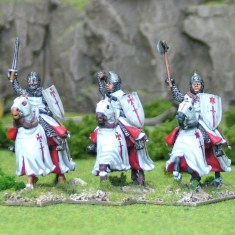28mm Eastern Europe Eastern Mounted Knights 3 Mounted Knights 3, mail, hand weapons, charging barded horses. Livonian Brothers of the Sword Shields, banners and heraldic transfers by Battle Flag