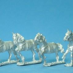 4x charging horses