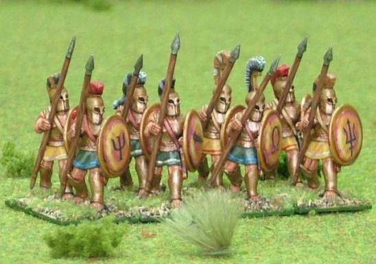 28mm Hoplite, bell cuirass, advancing.