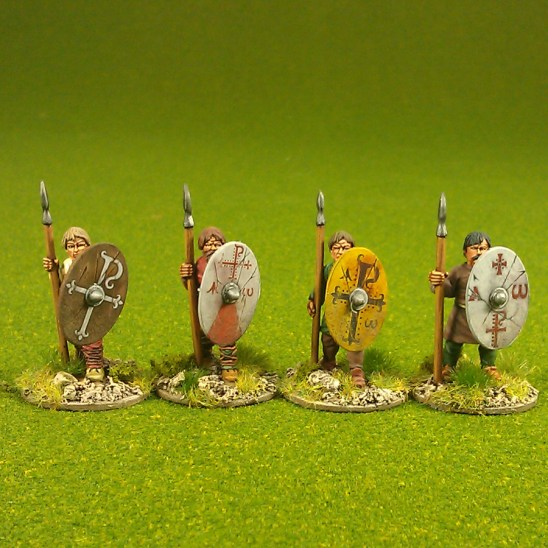Warriors, unarmoured, standing,bareheaded, spears (4)