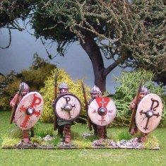 Warriors, unarmoured, advancing, helmets, spears (4)