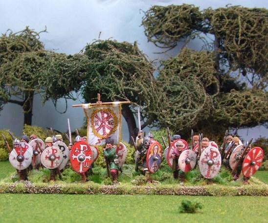 Warriors, unarmoured, advancing, bareheaded, spears (4)