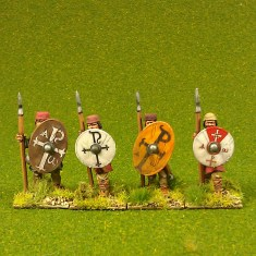 Warriors, unarmoured, standing, caps, spears (4)