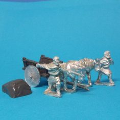 28mm Dark Age whicker cart with solid wheels and covered load.