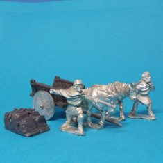 28mm Dark Age whicker cart with solid wheels and sacks