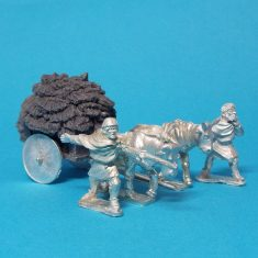 28mm Dark Age whicker cart with solid wheels piled high with hay