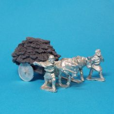 28mm Dark Age planked cart with solid wheels piled high with hay