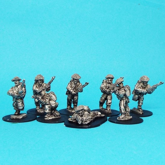 28mm ww2 british infantry wearing covered helmets and 37 pattern pack.