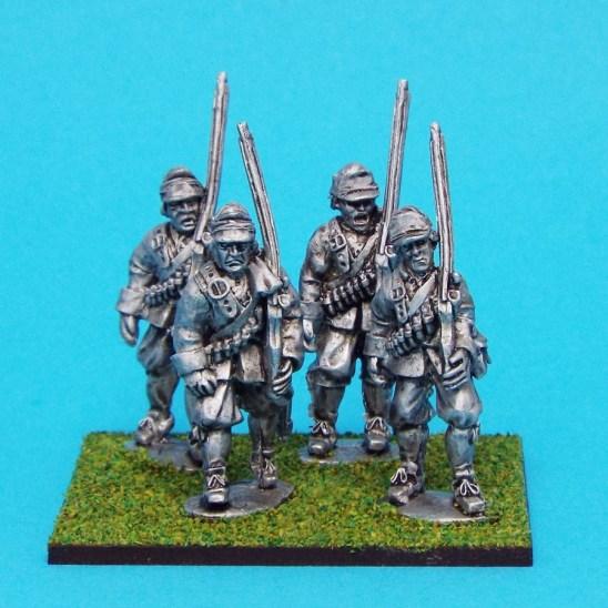 28mm English Civil war Musketeers Marching Wearing Montero Cap.