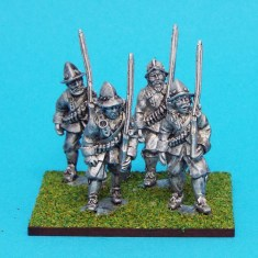28mm english civil war musketeers wearing morion helmet