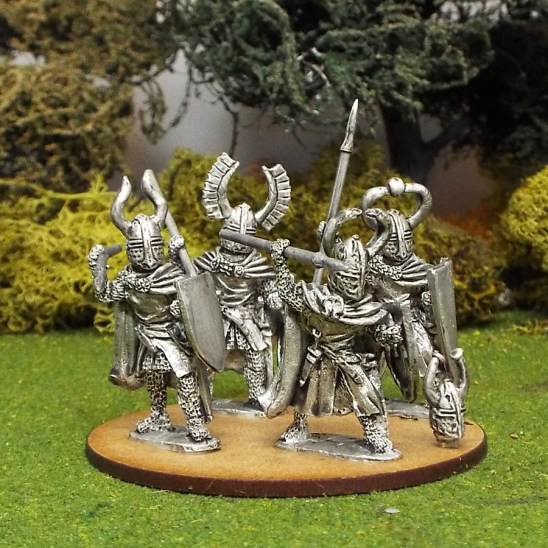 28mm Teutonic Foot knights with spears attacking wearing Cloaks