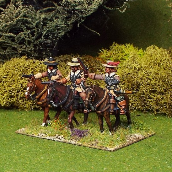 28mm Troopers with Pistols, Buff Coat, Brimmed Hat, Galloping Horses.