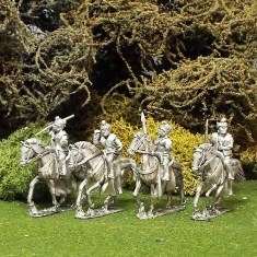 Levy Cavalry with Javelins and Shields. Contains 4 mounted figures including 4 horses chosen from 3 variants. Includes weapons and assorted shields from those shown.