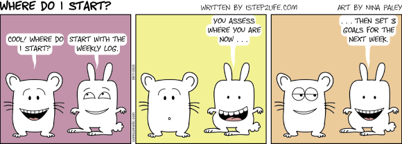 Comic: Start with the weeklhy log. Assess where you are now. Then set 3 new goals for next week.