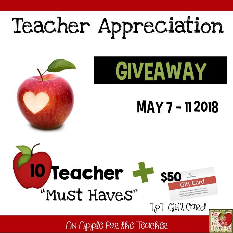 Teacher Appreciation Giveaway announcement