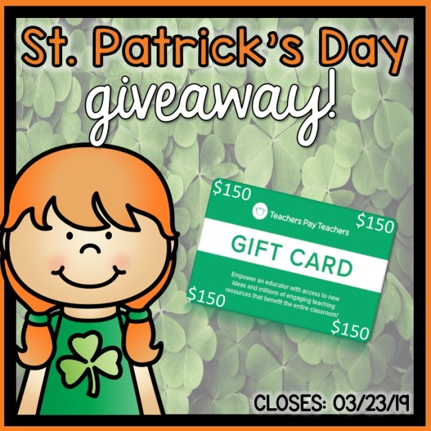 St. Patrick's Day Tpt gift card GIVEAWAY