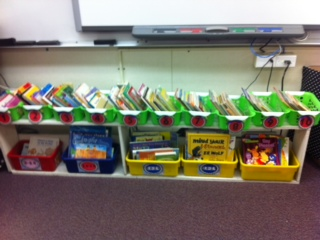 Leveled readers in tubs. On my list!
