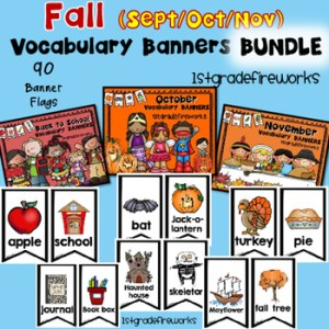 Fall Vocabulary Banners for WRITING