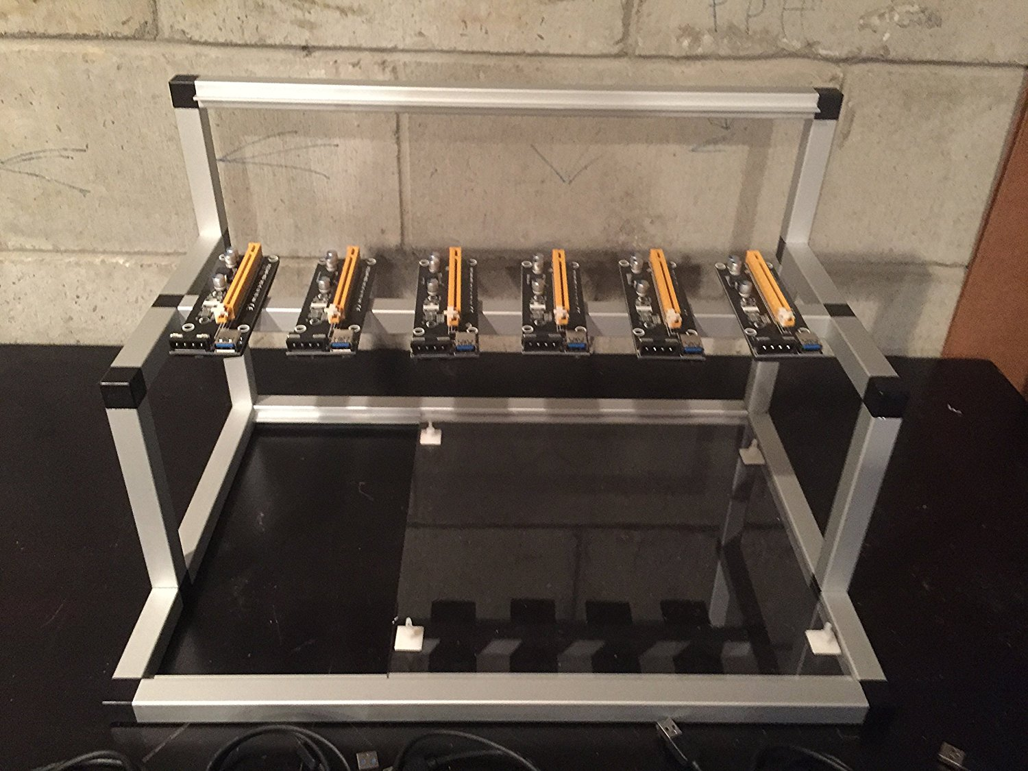 Gpu Mining Rig Open Air Frame Case With 6 Usb Risers