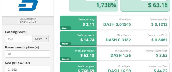 dashcoin mining profitability