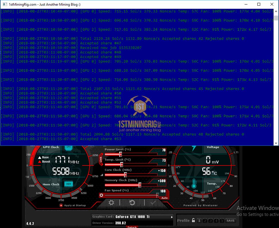 MSI GTX 1080 Ti Bminer Equihash ZCash Mining Hashrate