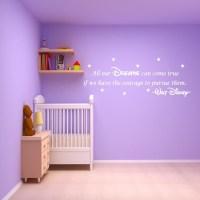 DISNEY WALL STICKER QUOTE - KIDS GIRLS BOYS DREAM WALL ART ...