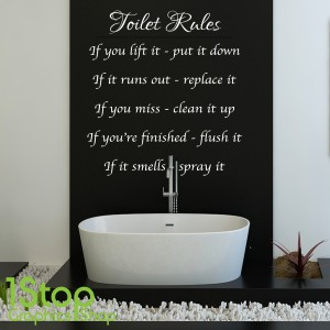 TOILET RULES WALL STICKER QUOTE  BATHROOM HOME WALL ART DECAL X131  1stopgraphicsshop wall