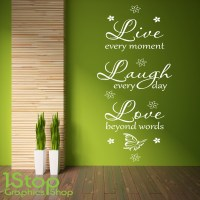 LIVE LAUGH LOVE WALL STICKER QUOTE - BEDROOM LOUNGE HOME ...