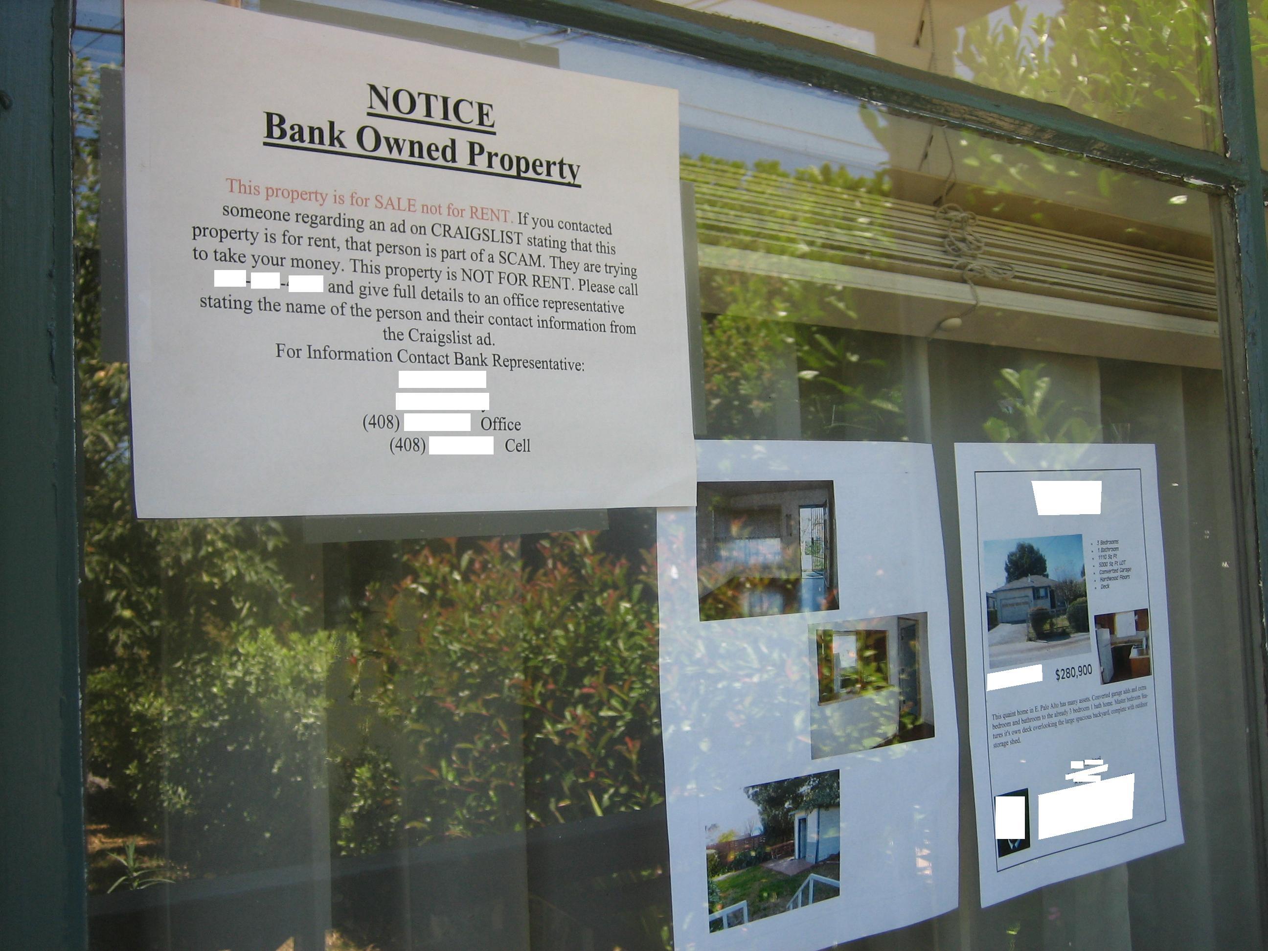 Foreclosure rental scam warning!