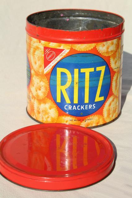 1950s vintage Ritz crackers advertising tin cracker jar