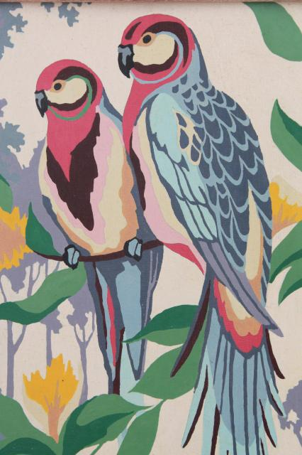 1950s vintage paint by number pictures pink  blue parrots retro wall art