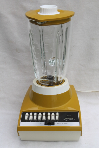 1970s vintage Sears 16 speed blender retro harvest gold