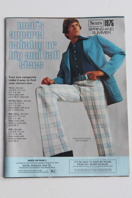 1975 Sears catalog book of mens big  tall clothes