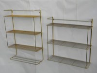 2 retro vintage hanging wall shelf units with metal mesh ...
