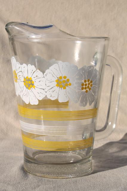 60s 70s vintage glass pitcher w daisies yellow  white