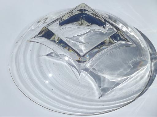 60s mod vintage glass salad bowl set Hazel Atlas square
