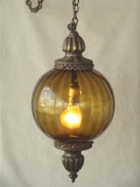 60s Vintage Amber Glass Swag Lamp Retro Round Globe ...