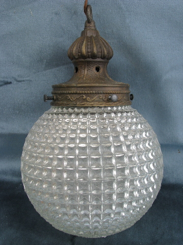 60s vintage swag lamp hanging light w double pendant globes