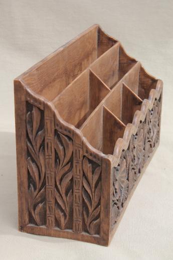 70s vintage burwood style plastic faux carved wood desk